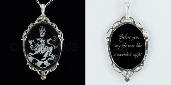 Solid CF Crest Black-Silver ----- Before You-Quote-Charm Pendant Necklace