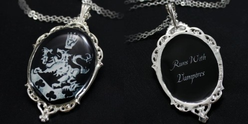 Solid CF Crest Black-Silver ----- Runs w Vampires-Quote-Charm Pendant Necklace